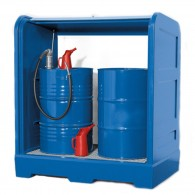 Gefahrstoffdepot aus PE, mit Rolljalousie und Gitterrost, für 1 Stück oder 2 Stück 200l-Fässer, Aufstellung im Freien möglich