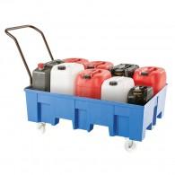 Fahrbare Auffangwanne aus PE, 220l, mit oder ohne Stellebene, für 2 Stück 200l-Fässer