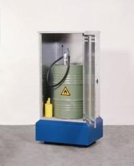 Fass-Depot aus Stahl mit Lüftungsöffnungen für 1 Stück oder 2 Stück 200l-Fässer