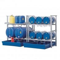 Fassregal aus Stahl, verzinkt, mit Kunststoff-Auffangwanne für 6x60l- und 2x200l-Fässer und Kleingebinde