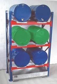 Fassregal mit Auffangwanne für 6x200l-Fässer, Grund- und/oder Anbauregal