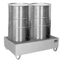 Auffangwanne aus Edelstahl V4A für 1 Stück, 2 Stück oder 4 Stück 200l-Fässer, 210l, 224l, 230l oder 241l, mit verzinktem Gitterrost