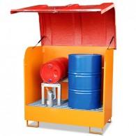 Gefahrstoff-Depot aus Stahl, 220l, lackiert oder verzinkt, für 2 Stück 200l-Fässer, mit GfK-Haube