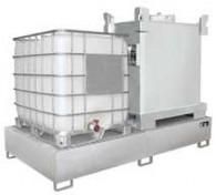 Auffangwanne aus Edelstahl V4A für 1 Stück oder 2 Stück 1000l-IBC, mit verzinktem oder Edelstahl-Gitterrost