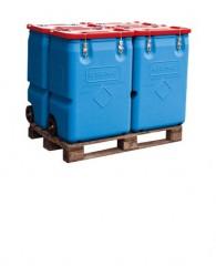 Mobil-Box mit Gefahrgut-Zulassung, 170l oder 250l, Behälter blau, Deckel rot