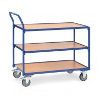 Tischwagen mit drei Ebenen und hochstehendem Rohrschiebebügel