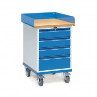 Rollschrank 150 kg mit vier abschließbaren Schubladen
