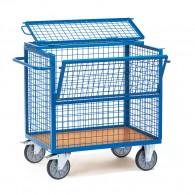 Kasten- Transportwagen mit Drahtgitterwänden und Deckel