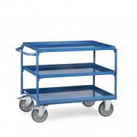 Stahl- Tischwagen mit drei Ebenen und Schiebebügel
