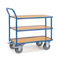 Tischwagen mit drei Ebenen und hochstehendem Schiebebügel