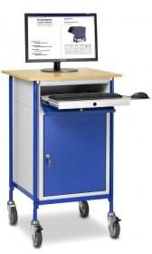 Rollpult mit ausziehbarer Tastaturschublade und Stahlschrank