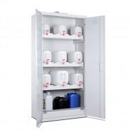 Chemikalienschrank für Kanister, Bauhöhe 1950mm, Breite 950mm mit Ganzstahl- oder Plexiglastüren, lichtgrau oder himmelblau