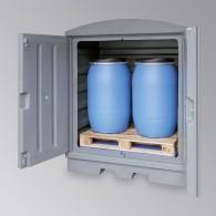 Gefahrstoffstation aus PE, für 2 Stück 200l-Fässer mit verzinktem oder PE-Gitterrost