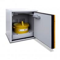 Sicherheits-/ Abzugsunterschrank, Bauhöhe 600mm, Tiefe 500mm, Flügeltür DIN R oder Schubfach, Tür-/Schubfach-Farbe lichtgrau oder narzissengelb