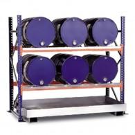 Steckregal mit Auffangwanne für bis zu 6 Stück 60l-Fässer, liegende Lagerung