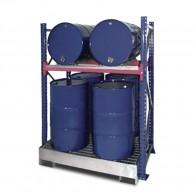 Steckregal mit Auffangwanne und Gitterrost, für 200l-Fässer