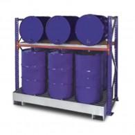 Steckregal mit Auffangwanne und Gitterrost für 200l-Fässer