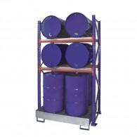 Steckregal mit Auffangwanne und Gitterrost für bis zu 8 Stück 200l-Fässer