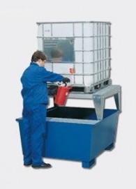 IBC-Auffangwanne aus Stahl mit Abfüllbock, pulverbeschichtet oder feuerverzinkt, 1000l, für 1 Stück IBC/KTC