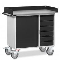 Fetra Werkstattwagen mit Arbeitsplatte und Abrollrand, Grey Edition