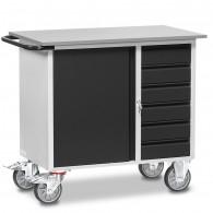Fetra Werkstattwagen mit einem Schrank und sechs Schubladen, abschließbar, Grey Edition