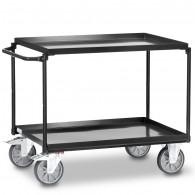 Fetra Stahl-Tischwagen mit zwei öldichten Stahlblechwannen, Grey Edition