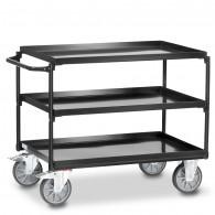 Fetra Stahl-Tischwagen mit drei öldichten Stahlblechwannen, Grey Edition
