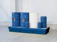 Auffangwanne aus PE, für 1 Stück 200l-Fass und Kleingebinde oder 4 Stück 200l-Fässer, Auffangvolumen 405l