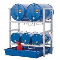 Fassregal aus Stahl, verzinkt, mit Kunststoff-Auffangwanne für 3x60l- und 2x200l-Fässer