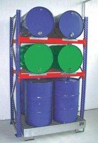 Fassregal 8x 200 l Fässer, Grund- und Anbauregal