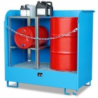 Gefahrstoff-Depot aus Stahl, 220l, lackiert oder verzinkt, für 2 Stück 200l-Fässer