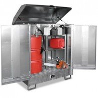 Gefahrstoff-Depot aus Stahl, für den Innen- und Außenbereich, für 2 Stück oder 4 Stück 200l-Fässer