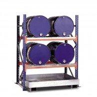 Steckregal mit Auffangwanne für bis zu 4 Stück 200l-Fässer