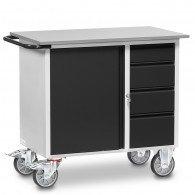 Fetra Werkstattwagen mit einem Schrank und vier Schubladen, abschließbar, Grey Edition