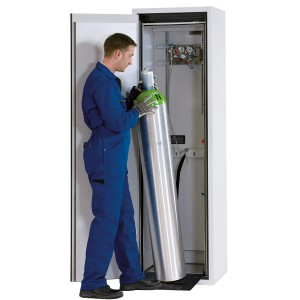 0050000301 - Druckgasflaschenschrank für 1 Stück 50l-Gasflasche, Typ 90, Breite 600mm, DIN L, sicherheitsgelb - G-Ultimate 90