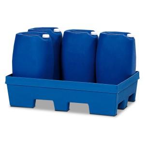 00500057 - Auffangwanne aus PE 225l, mit Einfahrtaschen, ohne / mit PE- oder verzinktem Gitterrost, für 9 Stück 60l oder 4 bzw. 5 Stück 200l-Fässer