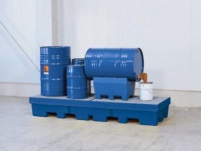 00500069 - Auffangwanne aus PE, blau, 405l, mit Einfahrtaschen, ohne Stellebene für 1 Stück 200l-Fass