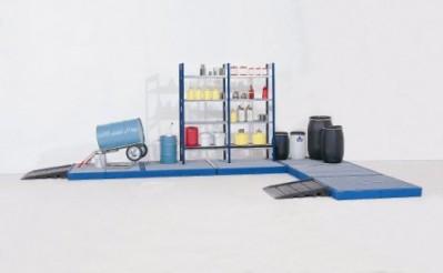 00500073 - Bodenelemente aus PE, Höhe 150mm, mit verzinktem oder PE-Gitterrost