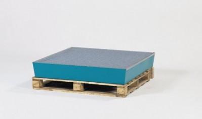 00500109 - Auffangwanne aus Stahl, 200l, lackiert, für 4 x 200l-Fässer, mit Gitterrost, ohne Füße
