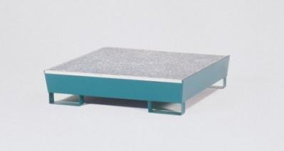 00500113 - Auffangwanne aus Stahl 200l,  lackiert oder verzinkt, mit Gitterrost, mit Füßen, für 4x200l-Fässer und Kleingebinde