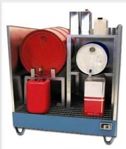 00600072 - Auffangwanne aus Stahl mit Spritzschutzwand, 200l, lackiert oder verzinkt, für 1 Stück, 2 Stück oder 4 Stück 200l-Fässer