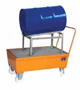 00600081 - Fahrbare Auffangwanne aus Stahl 225l, lackiert, mit Fassauflage für 1 Stück 200l-Fass