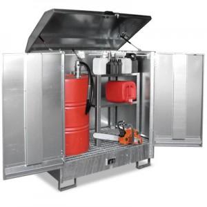 00600230 - Gefahrstoff-Depot aus Stahl, für den Innen- und Außenbereich, für 2 Stück 200l-Fässer