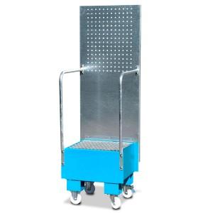 00600231 - Fahrbare Auffangwanne aus Stahl mit verzinkter Lochplattenwand