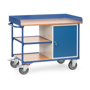 01600095 - Werkstattwagen mit drei Ebenen, Abrollrand und Schrank, abschließbar