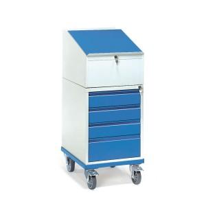 01600102 - Rollpult, abschließbar mit vier Schubladen