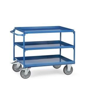01600153 - Stahl- Tischwagen mit drei Ebenen und Schiebebügel