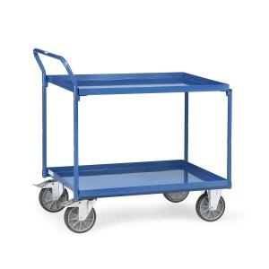 01600154 - Stahl- Tischwagen mit zwei Ebenen und hochstehendem Schiebebügel