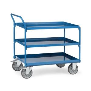 01600155 - Stahl- Tischwagen mit drei Ebenen und hochstehendem Schiebebügel