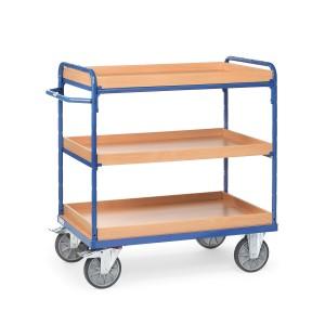 01600162 - Etagen- Transportwagen mit drei Ebenen, drei Kästen und Schiebebügel